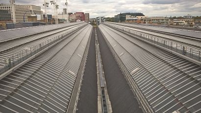 Solar panels at King's Cross railway station reduce carbon emissions by over 40 tonnes