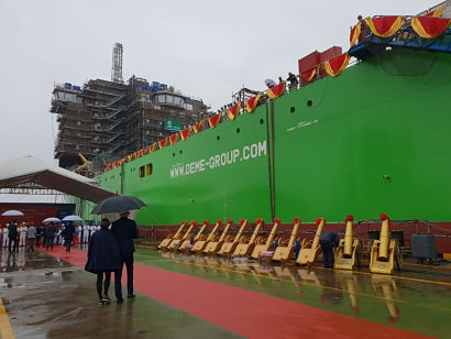 DEME Group launches new offshore installation vessel 'Orion' in China