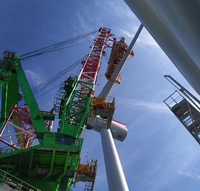 DEME Offshore installs the first turbine at the SeaMade offshore wind farm in the Belgian North Sea